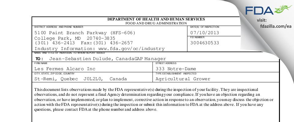 Les Fermes Alcaro FDA inspection 483 Jul 2013