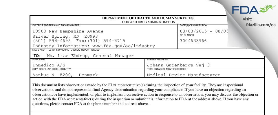 Inmedico A/S FDA inspection 483 Aug 2015