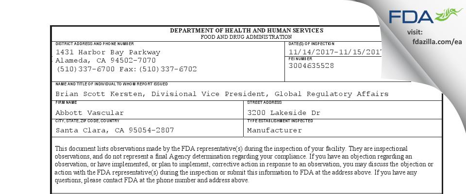 Abbott Vascular FDA inspection 483 Nov 2017