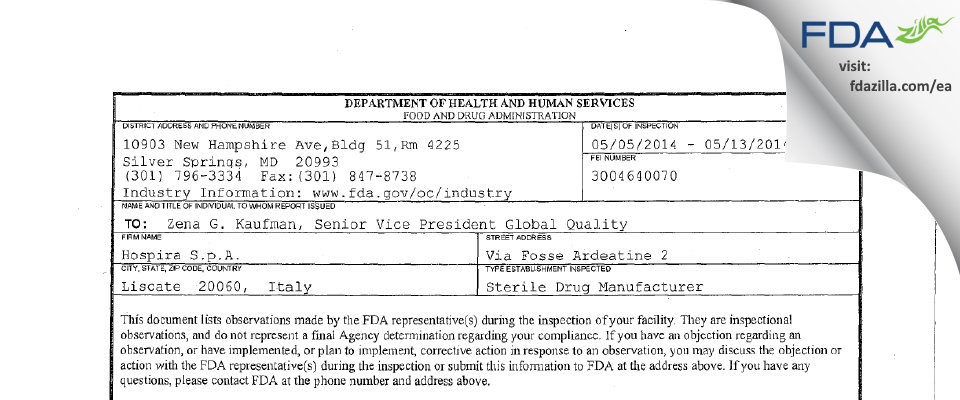 Avara Liscate Pharmaceutical Services SPA FDA inspection 483 May 2014