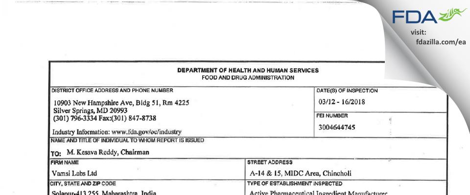 Vamsi Labs FDA inspection 483 Mar 2018