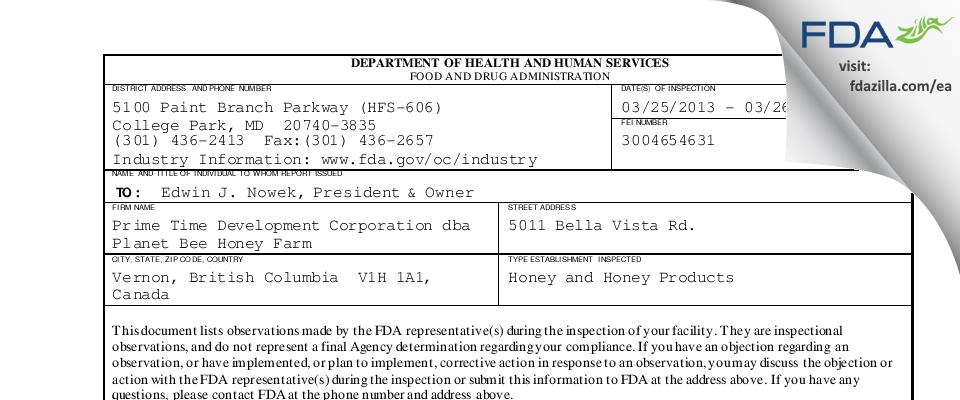 Prime Time Development dba Planet Bee Honey Farm FDA inspection 483 Mar 2013