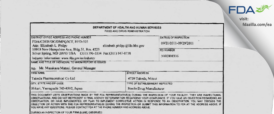 Takeda Pharmaceutical Company FDA inspection 483 Sep 2011