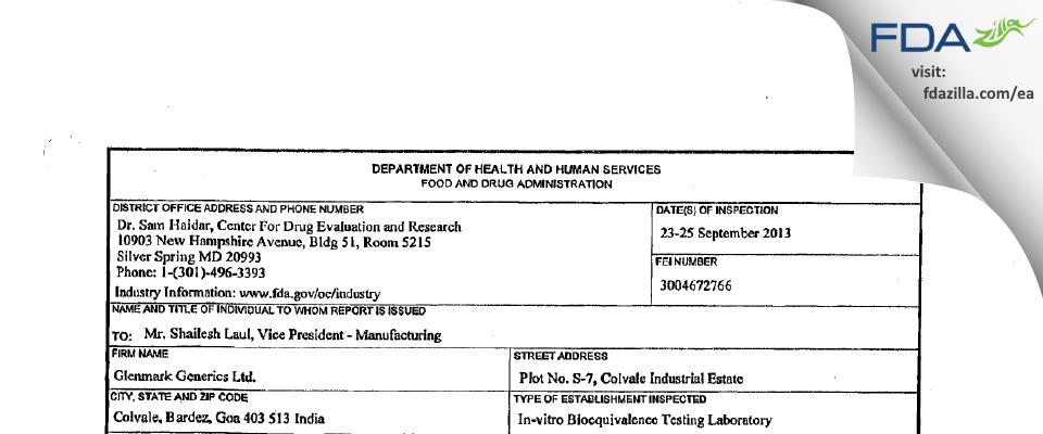 Glenmark Pharmaceuticals FDA inspection 483 Sep 2013