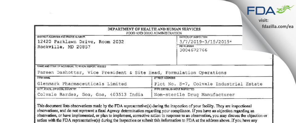 Glenmark Pharmaceuticals FDA inspection 483 Mar 2019
