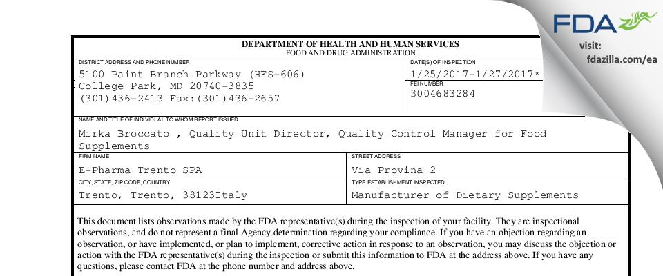 E-Pharma Trento SPA FDA inspection 483 Jan 2017