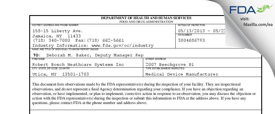 Robert Bosch Heathcare Systems FDA inspection 483 May 2013