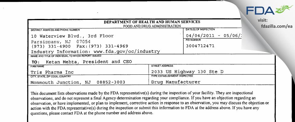 Tris Pharma FDA inspection 483 May 2011