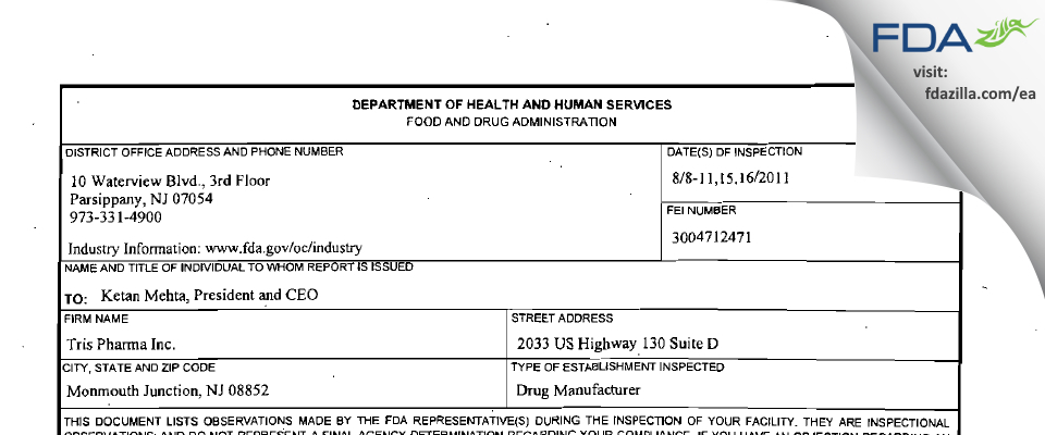 Tris Pharma FDA inspection 483 Aug 2011
