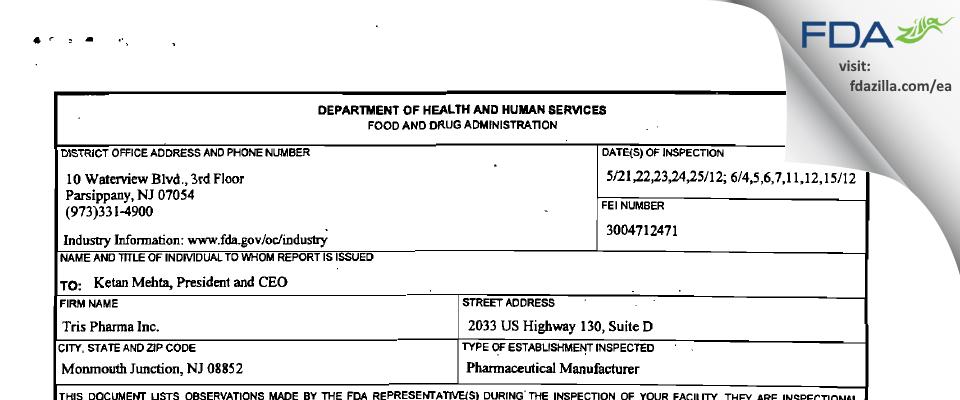 Tris Pharma FDA inspection 483 Jun 2012