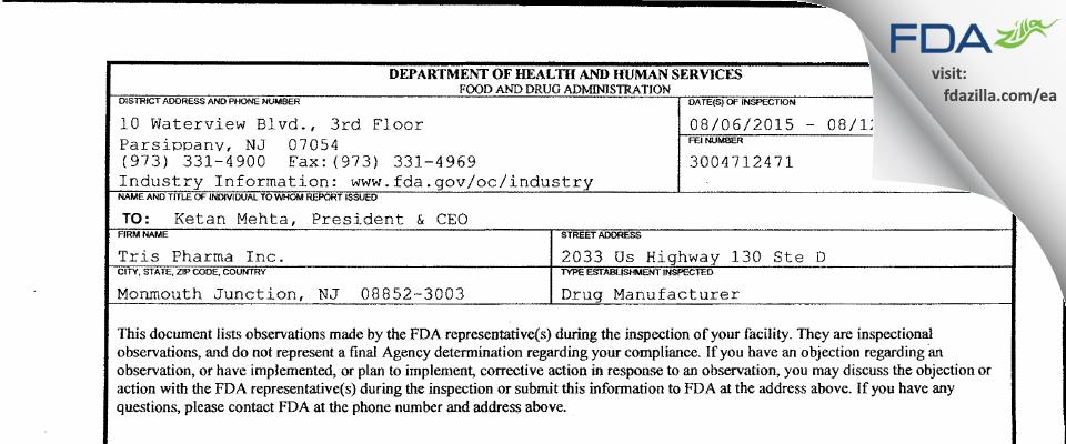 Tris Pharma FDA inspection 483 Aug 2015