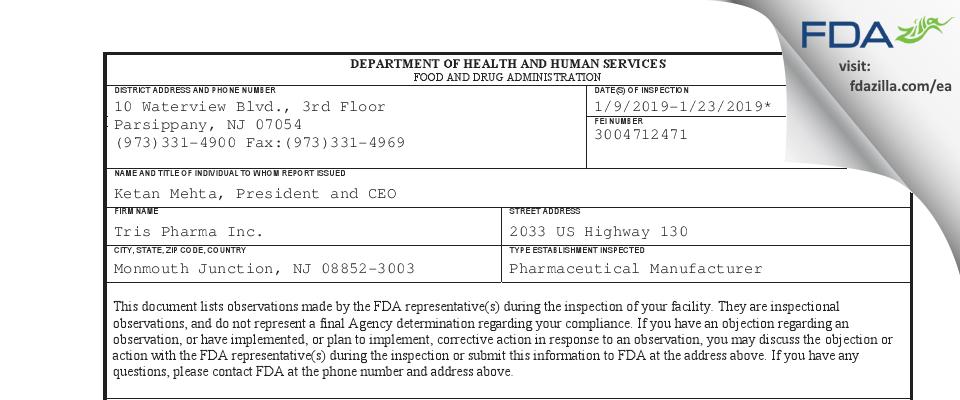 Tris Pharma FDA inspection 483 Jan 2019