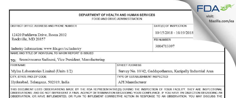Mylan Labs Limited (Units 1/2) FDA inspection 483 Oct 2018
