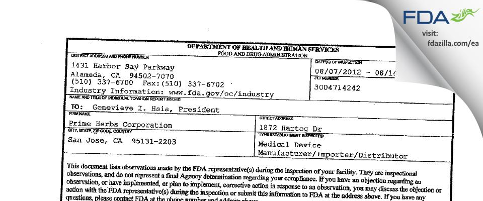 Prime Herbs FDA inspection 483 Aug 2012