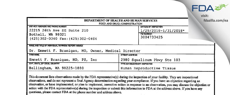 Emmett F. Branigan, MD, PS FDA inspection 483 Jan 2018