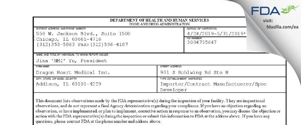 Dragon Heart Medical FDA inspection 483 May 2019