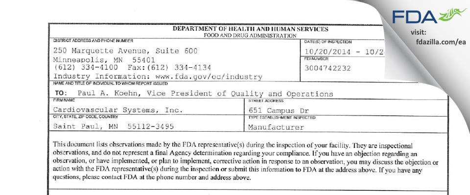 Cardiovascular Systems FDA inspection 483 Oct 2014