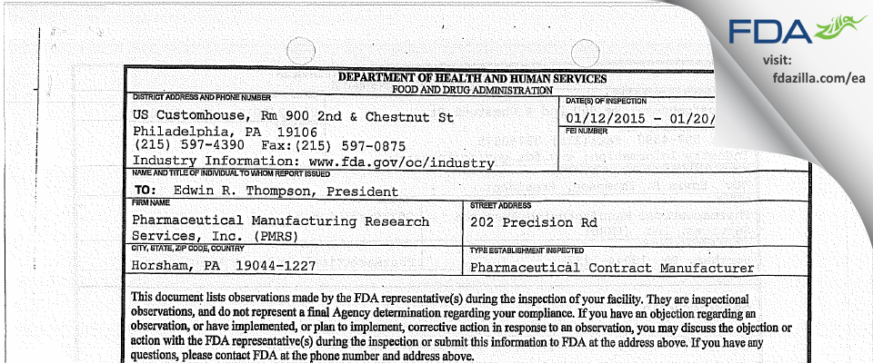 Pharmaceutical Manufacturing Research Services (PMRS) FDA inspection 483 Jan 2015