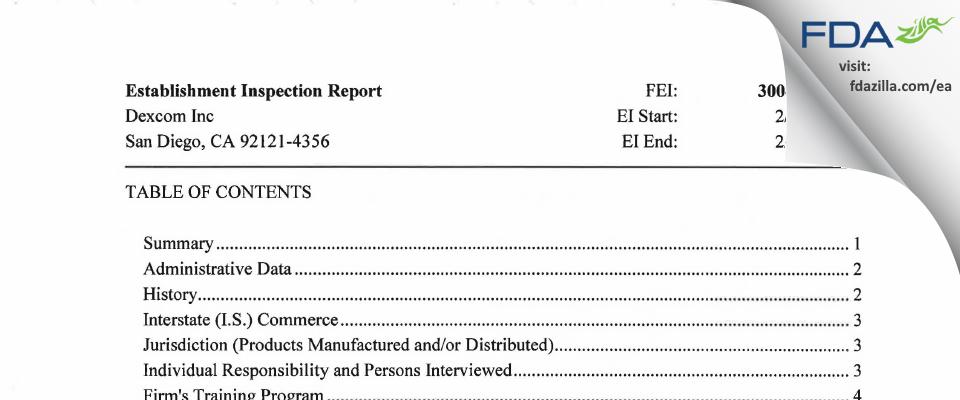 Dexcom FDA inspection 483 Feb 2018