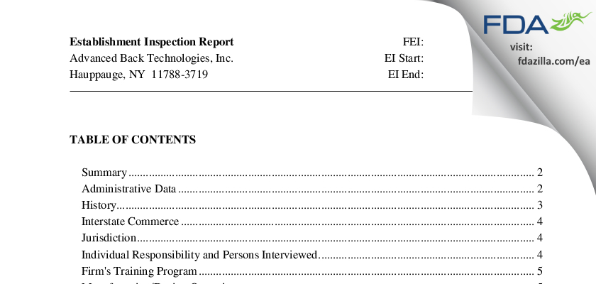 Advanced Back Technologies FDA inspection 483 Jan 2011