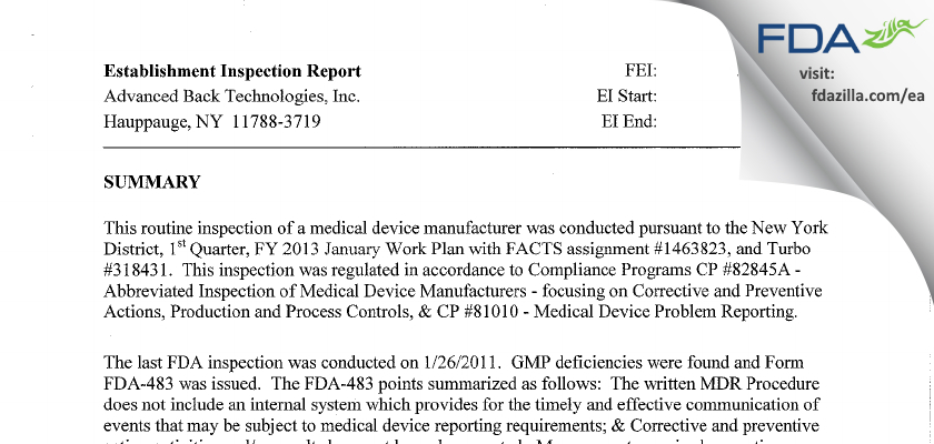 Advanced Back Technologies FDA inspection 483 Jan 2013
