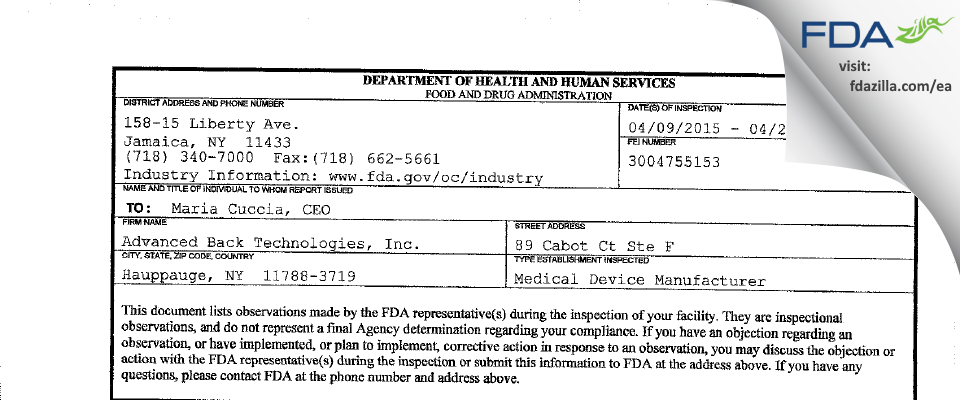 Advanced Back Technologies FDA inspection 483 Apr 2015
