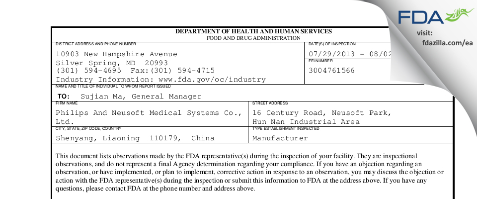 Philips and Neusoft Medical Systems FDA inspection 483 Aug 2013