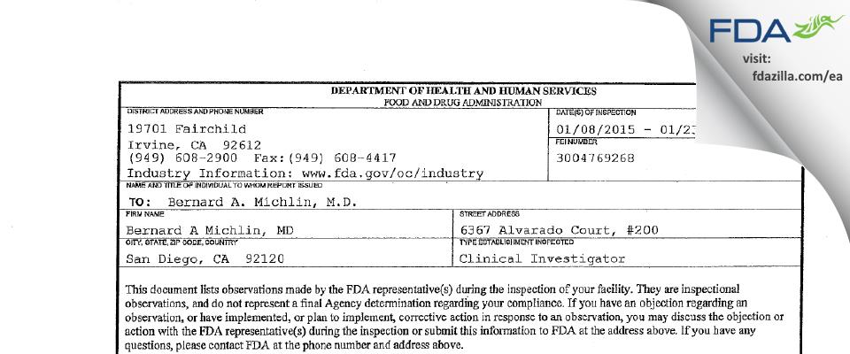Bernard A. Michlin, M.D. FDA inspection 483 Jan 2015