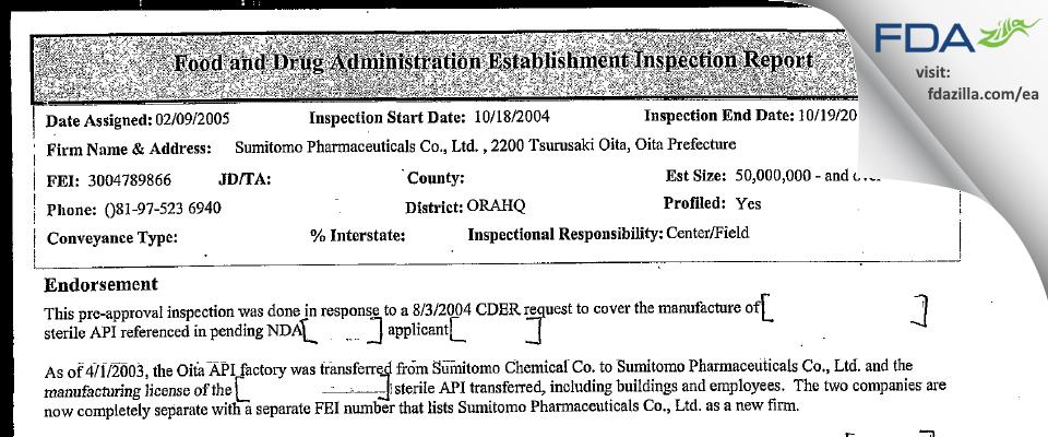 Sumitomo Pharmaceuticals FDA inspection 483 Oct 2004