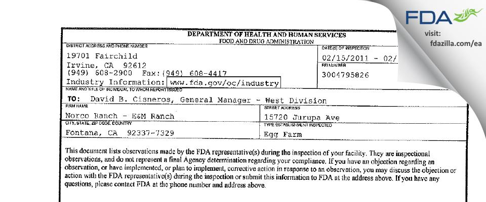 Norco Ranch - E&M Ranch FDA inspection 483 Feb 2011