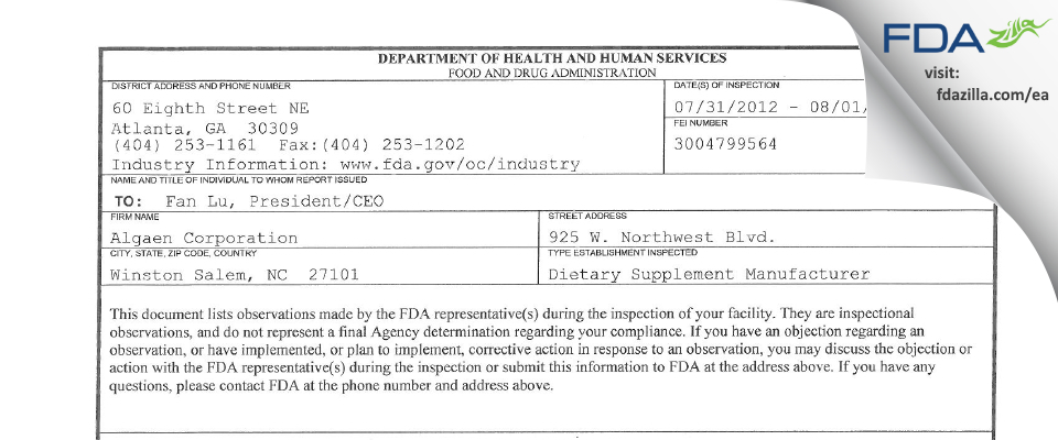 Algaen FDA inspection 483 Aug 2012