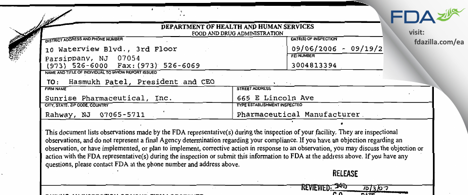 Sunrise Pharmaceutical FDA inspection 483 Sep 2006