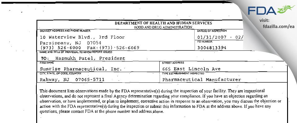 Sunrise Pharmaceutical FDA inspection 483 Feb 2007