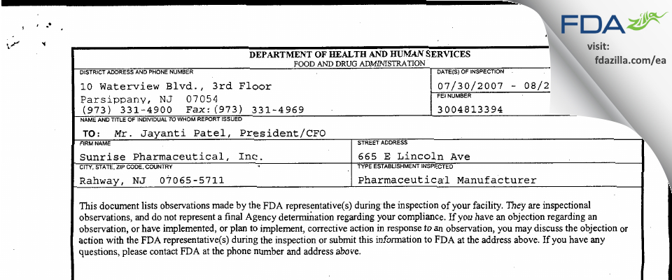 Sunrise Pharmaceutical FDA inspection 483 Aug 2007