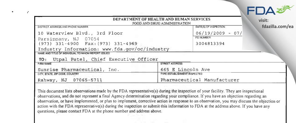 Sunrise Pharmaceutical FDA inspection 483 Jul 2009