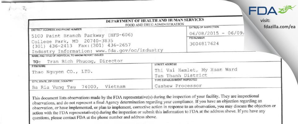 Thao Nguyen FDA inspection 483 Jun 2015
