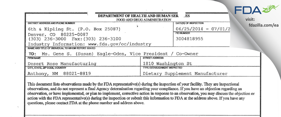 Desert Rose Manufacturing FDA inspection 483 Jul 2014