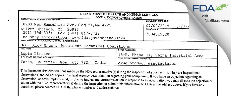 Lupin FDA inspection 483 Jul 2015