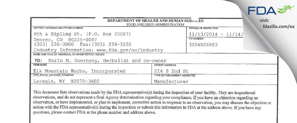 Elk Mountain Herbs FDA inspection 483 Nov 2014