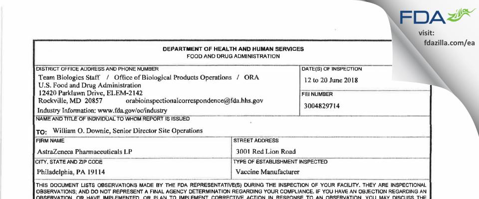 AstraZeneca Pharmaceuticals LP FDA inspection 483 Jun 2018