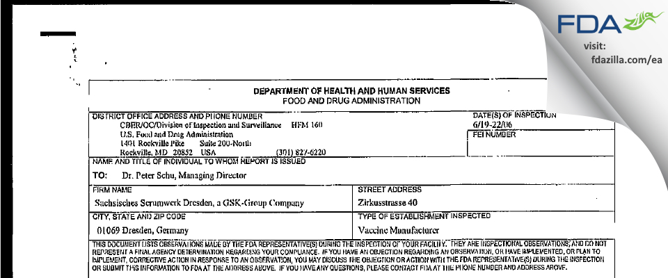 GlaxoSmithKline Biologicals FDA inspection 483 Jun 2006