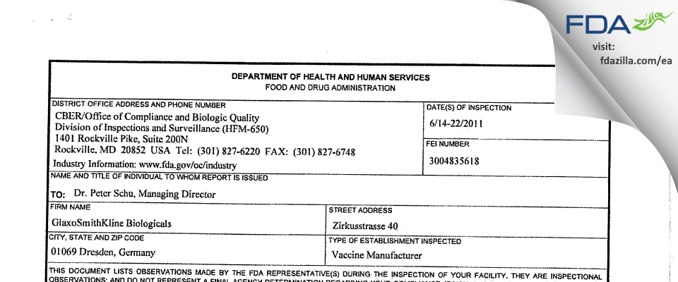GlaxoSmithKline Biologicals FDA inspection 483 Jun 2011