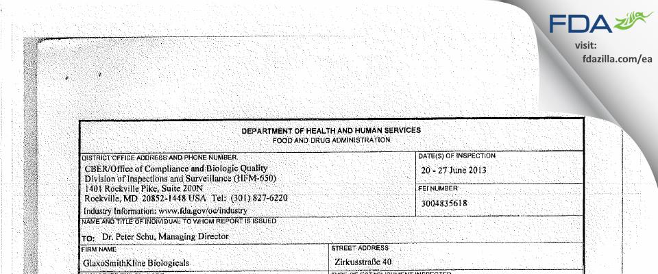 GlaxoSmithKline Biologicals FDA inspection 483 Jun 2013