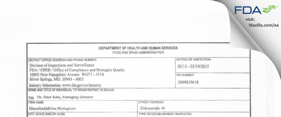 GlaxoSmithKline Biologicals FDA inspection 483 May 2015