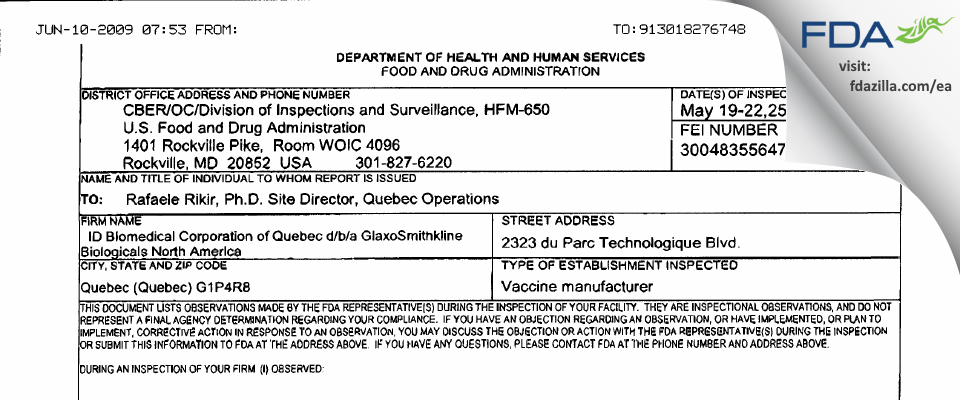 ID Biomedical, a subsidary of GSK Biologicals FDA inspection 483 May 2009