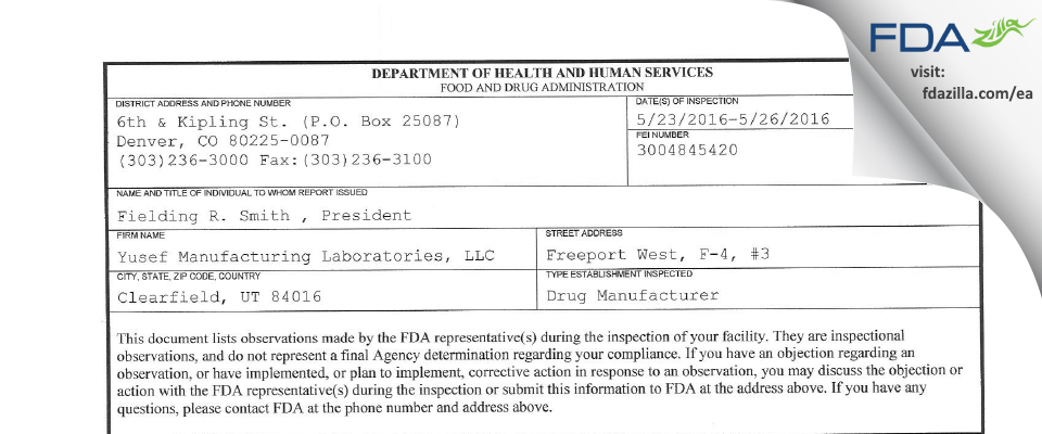 Yusef Manufacturing Labs FDA inspection 483 May 2016