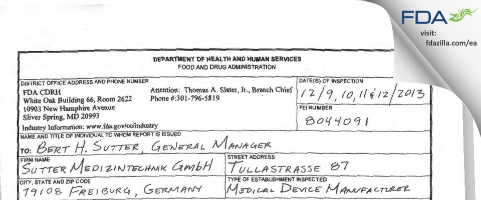 Sutter Medizintechnik FDA inspection 483 Dec 2013