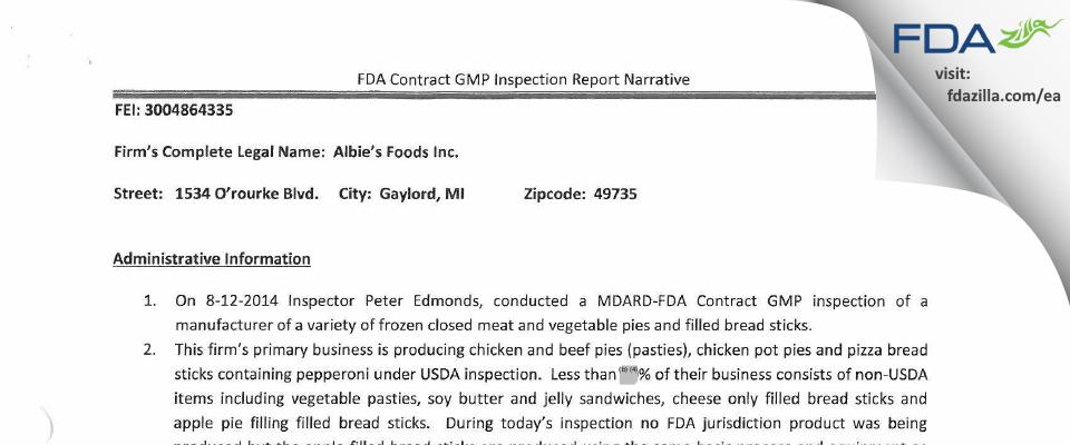 Albie's Foods FDA inspection 483 Aug 2014