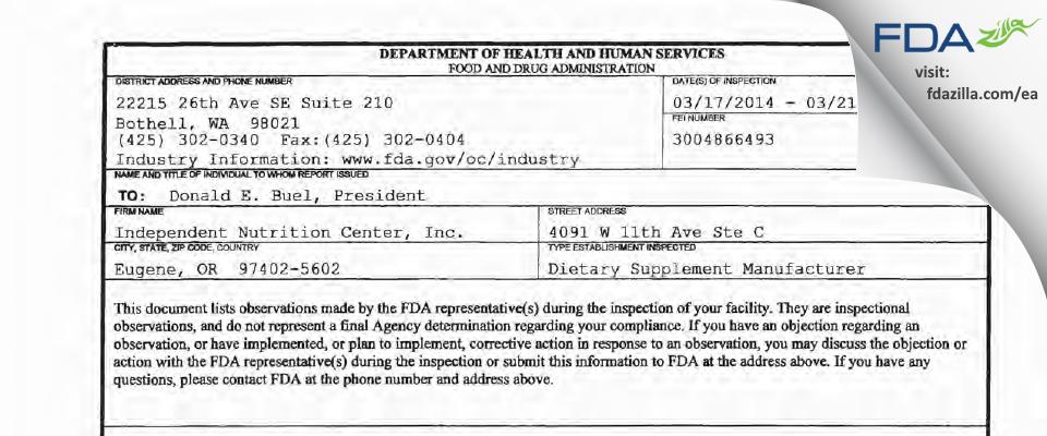 Independent Nutrition FDA inspection 483 Mar 2014