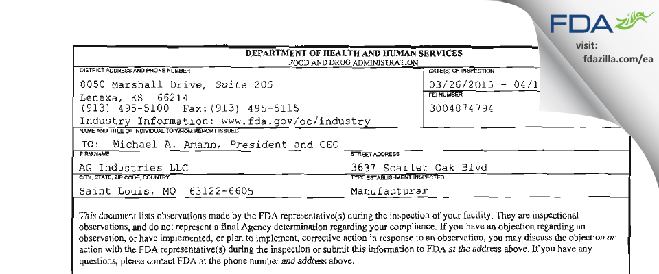 AG Industries FDA inspection 483 Apr 2015